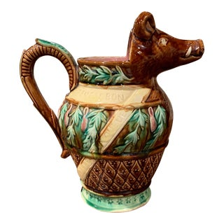 19th Century French Hand Painted Ceramic Barbotine Wild Boar Pitcher For Sale