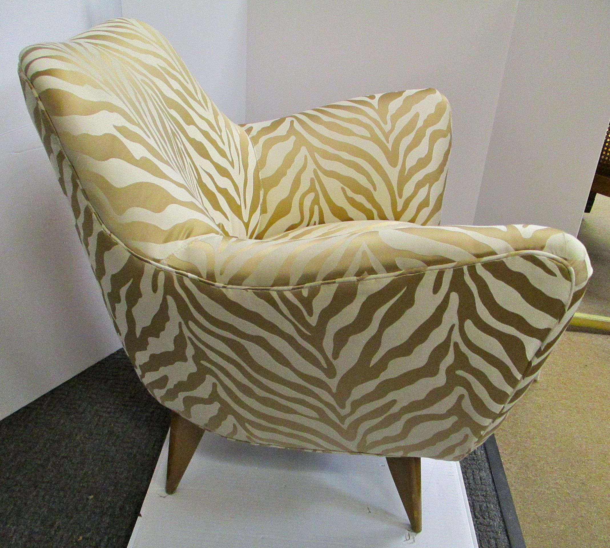 Mid Century Upholstered Zebra Print Arm Chair   Image 3 Of 5