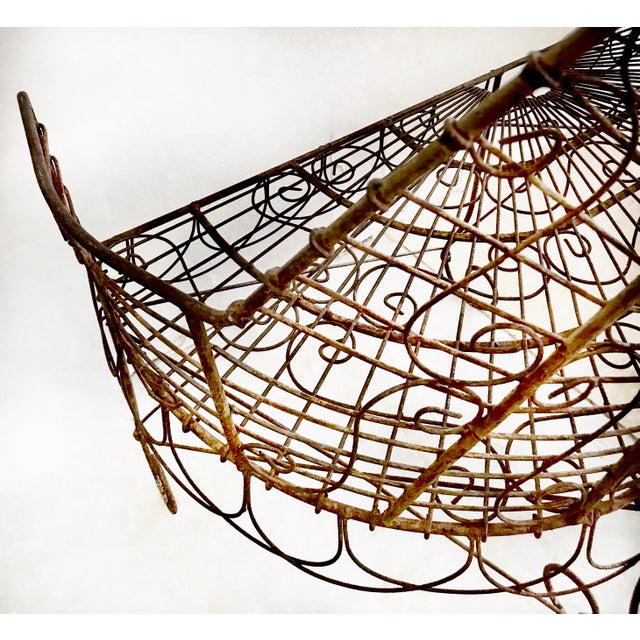 Late 19th Century French Wire Iron Garden Bench For Sale - Image 4 of 10