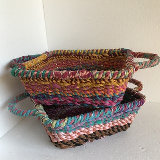 Bohemian Rag Rope Basket Trays - a Pair Preview