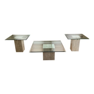 Vintage Antedi Style Marble Coffee & Side Tables - Set of 3 For Sale