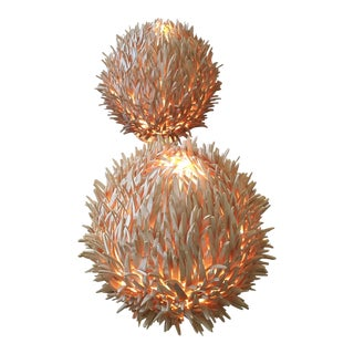 Organic Modern Wooden Urchin Style Table Lamps - a Pair
