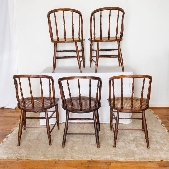 19th Century Vintage Cane Seat Spindle Back Windsor Primitive Bow Back Chairs For Sale - Image 4 of 13