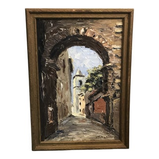 """""""Thru the Arches of Arles, France"""" Signed Oil Painting on Board in Wooden Frame For Sale"""