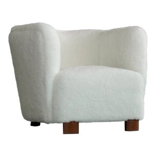 Viggo Boesen Style Lounge Chair Covered in Lambswool by Slagelse Mobelvaerk For Sale