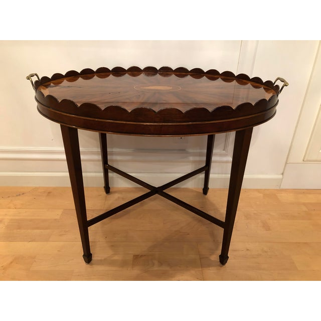 Contemporary Mid-Century Modern Baker Furniture Collector's Edition Scalloped Tray Table For Sale - Image 3 of 11