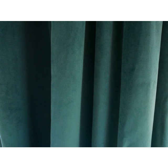 Traditional Custom Blue Green Velvet Curtains - a Pair For Sale - Image 3 of 6