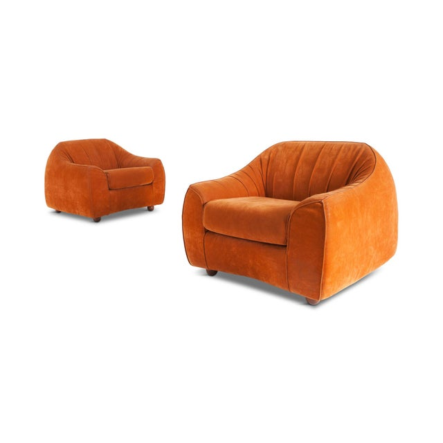Italian Mid-Century Modern Orange Suede Italian Easy Chairs For Sale - Image 3 of 9