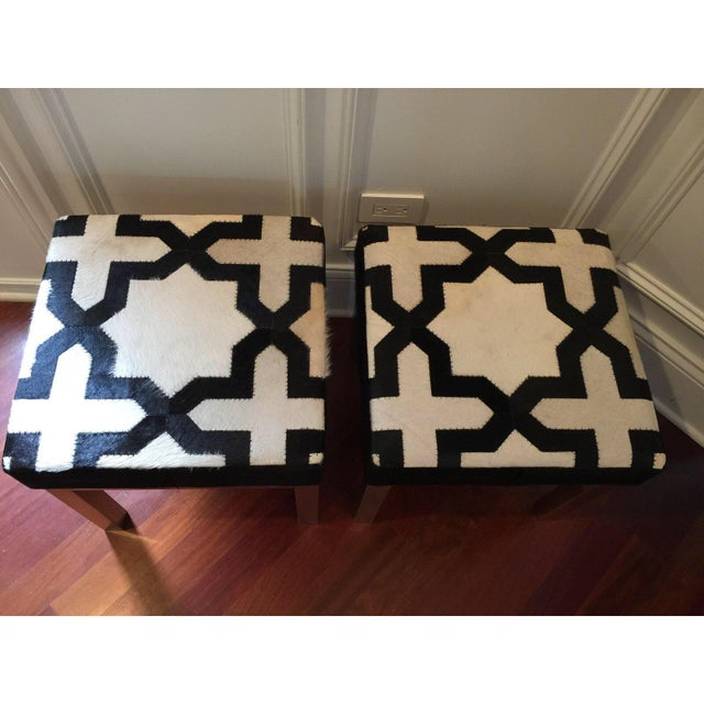 Moroccan Modern Geometric Print Cowhide Ottomans- a Pair For Sale - Image 3 of 7