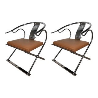 Chrome Ming Style Armchairs - a Pair