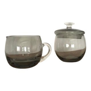 Blown Glass Sugar and Creamer Set - 2 Pieces For Sale