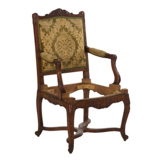 Antique French Rococo Revival Carved Walnut Arm Chair, 19th Century For Sale