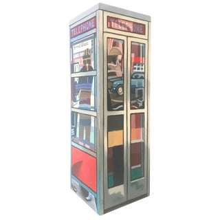 Colorful Pop Art Painted Telephone Booth Sculpture, Mark Clark, 1981 For Sale