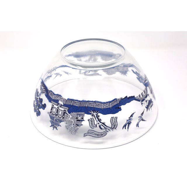 "White Vintage ""Blue Willow"" Glass Serving Bowl by Johnson Brothers For Sale - Image 8 of 10"