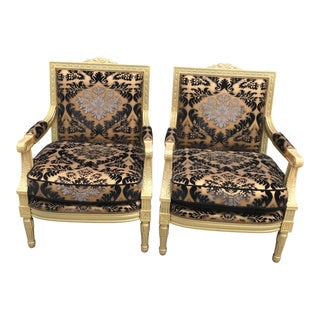 1930s Antique Hand Carved Armchairs- A Pair For Sale