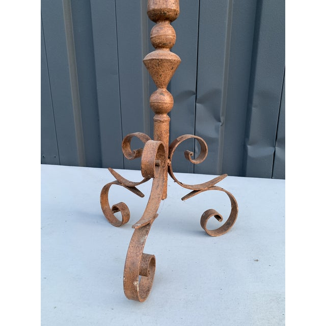 Traditional Iron Candelabra Stick For Sale - Image 3 of 5
