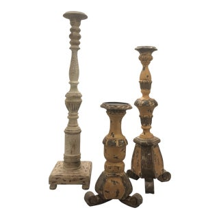 French Country Pottery Barn Carved Wood Candle Pillars - Set of 3 For Sale