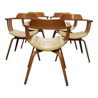 Thonet Bentwood Savonarola Barrel Dining Chairs - Set of 5