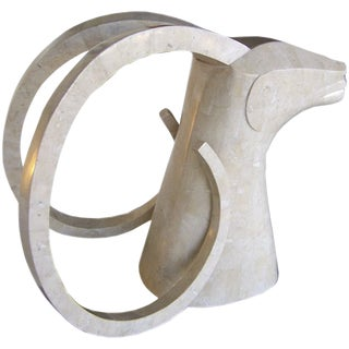 Large Rams Head Sculpture in Travertine Patchwork