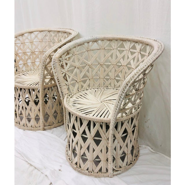 Pair Boho Chic White Wicker & Rattan Chairs For Sale - Image 11 of 13