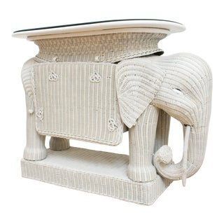 Wicker Elephant Bar W/ Mirror Top and Hidden Storage For Sale