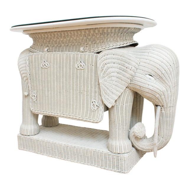 Wicker Elephant Bar W/ Mirror Top and Hidden Storage For Sale