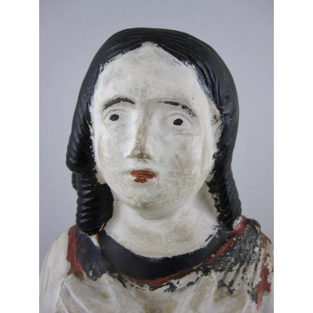19th Century Pennsylvania Hand-Painted Folk Art Chalkware Female Bust For Sale - Image 4 of 9