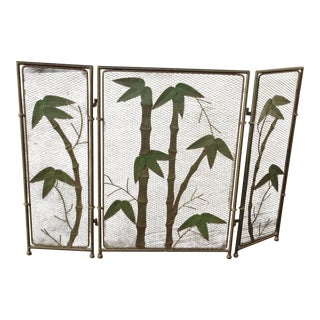Vintage French Country Black Fireplace Screen with Bamboo Leaves Limbs For Sale