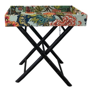 Schumacher Chiang Mai Dragon Fabric Tray Table For Sale