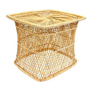 Mid-Century Bohemian Natural Woven Rattan Cocktail / Coffee Table For Sale