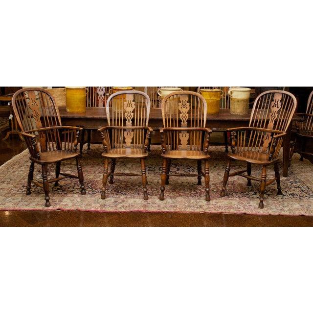 Set of Eight High-back Windsor Armchairs, English circa 1850,