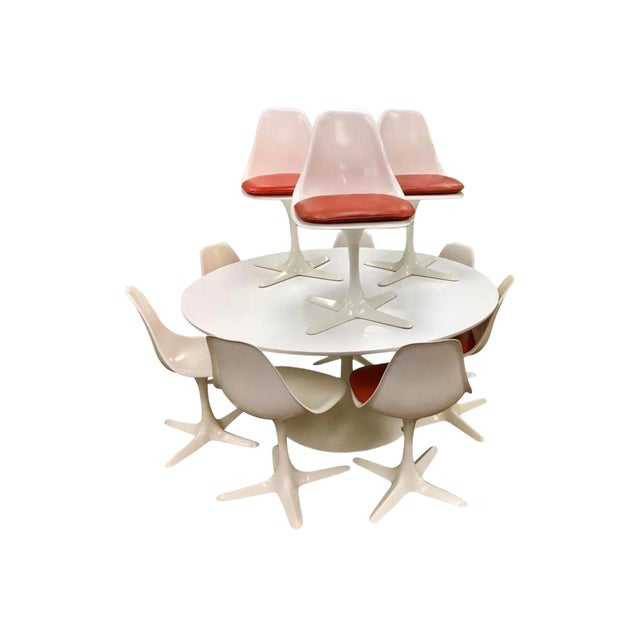 Mid-Century Modern Saarinen Tulip Dining Set by Burke Usa, 1970s For Sale