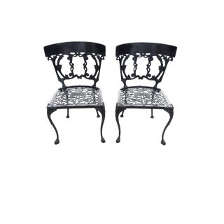Antique Pair Victorian Style Cast Metal Chairs Vintage Pair French Style Decorative Cast Metal Chairs For Sale