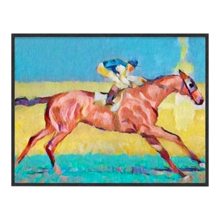 Oversized Custom Framed Patina Black Wood Frame Giclee Equestrian Art of Vintage Abstract Jockey on Racing Horse For Sale