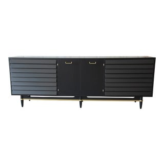 Merton Gershun for American of Martinsville Louvered Front Ebonized Triple Dresser or Credenza