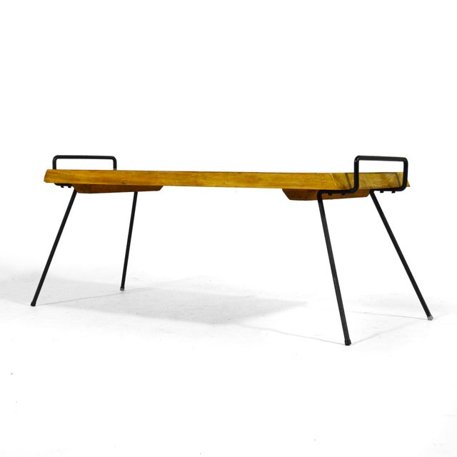 Wood Bench / Table With Iron Legs For Sale - Image 9 of 11
