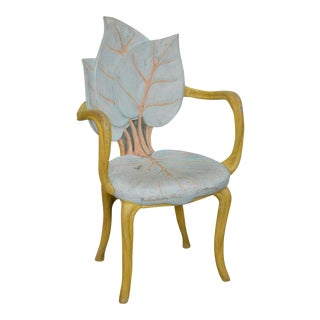 French Art Nouveau Style Leaf Carved Arm Chair