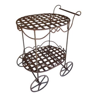 Rustic Iron Bar Cart For Sale
