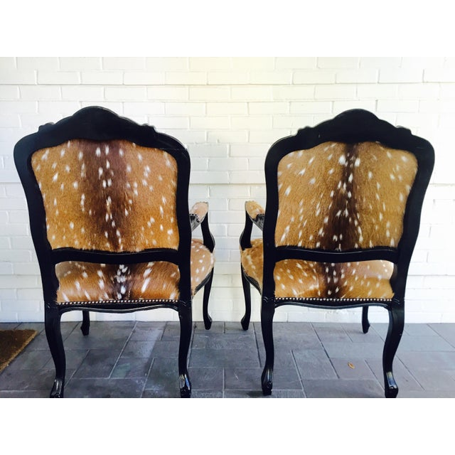 French Axis Deer Arm Chairs - Pair For Sale - Image 7 of 11