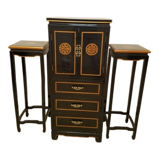 Asian Art Deco Cabinet & Side Tables - Set of 3 For Sale