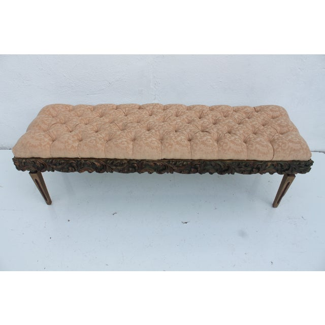 French Dorothy Draper Regency-Style Tufted Bench For Sale - Image 3 of 9
