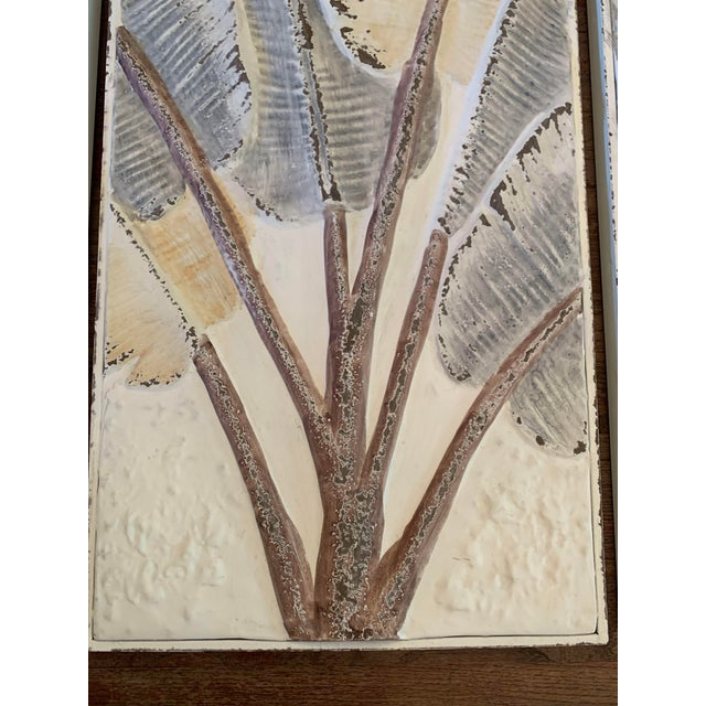 Pressed Tin Triptych of Painted Banana Leaves by Kalalou - 3 Pieces For Sale In Denver - Image 6 of 13