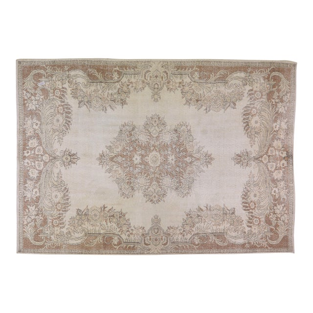 """Vintage Turkish Hand Knotted Whitewash Organic Wool Fine Weave Rug,7'2""""x10'2"""" For Sale"""