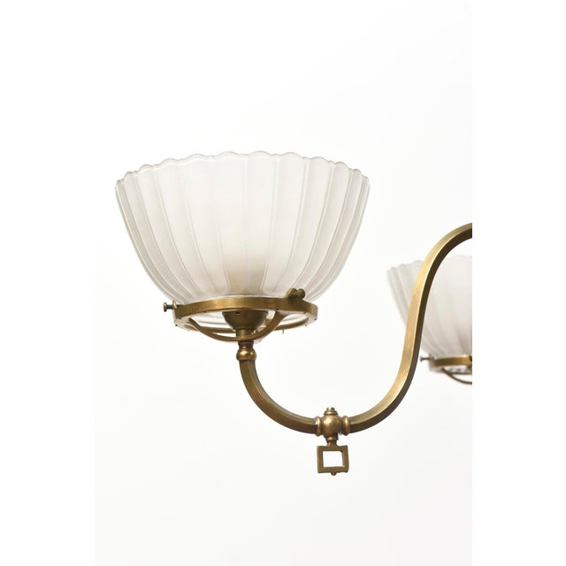 Four Arm Brass Gas Chandelier For Sale - Image 10 of 11