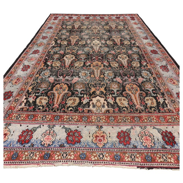 Asian Distressed Antique Persian Khorassan Rug with Mid-Century Modern Style For Sale - Image 3 of 7