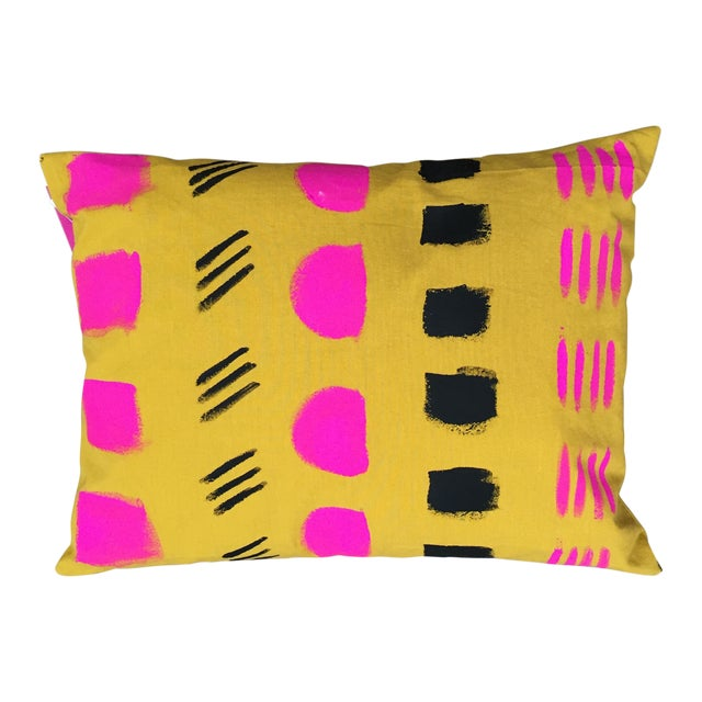 Hand-Painted Organic Cotton Pillow - Image 1 of 2