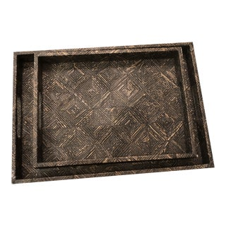Made Goods Black Serving Tray Set - Pair For Sale
