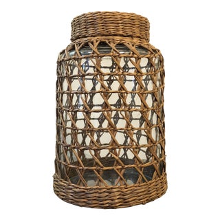 Basket Weave Lidded Glass Jar Canister