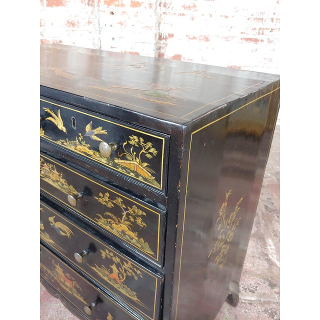 Black Antique English Chinoiserie Black Lacquered Five-Drawer Chest For Sale - Image 8 of 11