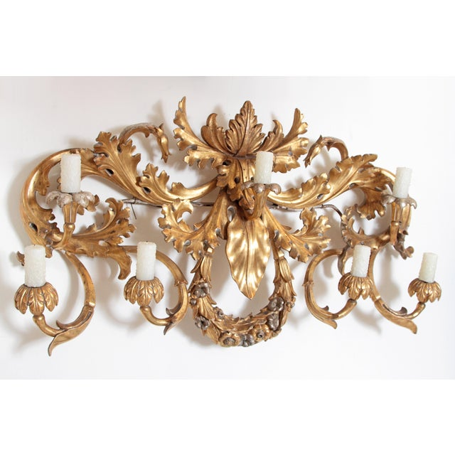 Gold Oversized Italian Baroque-Style 7-Arm Gilt and Silvered Wood Wall Sconce For Sale - Image 8 of 13